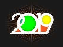 Покрасьте творческую литерность 2019 изолированный на черной предпосылке с оранжевыми лучами иллюстрация вектора