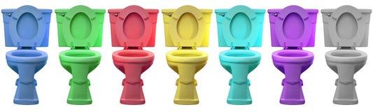 покрасьте туалет трона фарфора commode головной multi стоковые изображения rf
