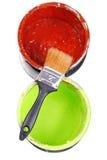 Покрасьте чонсервные банкы и paintbrush Стоковое Изображение RF