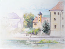 Покрасьте эскиз замка, Podebrady карандаша, чехию Стоковые Изображения RF
