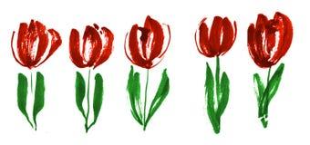 Покрасьте эскиз цветка тюльпана концепции краски современный Стоковая Фотография RF