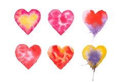 Покрашенная акварелью красной иллюстрация сердца нарисованная рукой Стоковые Изображения