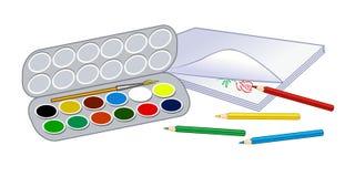 Покрашенная акварель Вопросы школы для рисуя уроков Стоковое Изображение