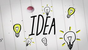 Покрашенная анимация бизнес-плана нарисованная в тетрадь