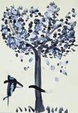 покрашенная бумажная акварель деревянная Стоковое Фото