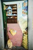 Покрашенная дверь в улице Santa Maria в Фуншале Мадейре Стоковые Фото