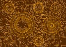 Покрашенная винтажная предпосылка, стиль doodle steampunk Стоковые Фотографии RF