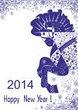 Покрашенная голубая лошадь. Счастливый Новый Год! Стоковые Фото
