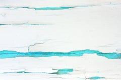 Покрашенная грубая деревянная предпосылка, старая стена с треснутой белизной краски на фоне бирюзы стоковые фото