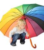 покрашенная девушка меньший зонтик вниз Стоковая Фотография
