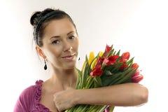 покрашенная женщина тюльпанов Стоковые Фото