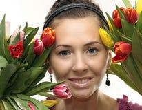 покрашенная женщина тюльпанов Стоковые Фотографии RF