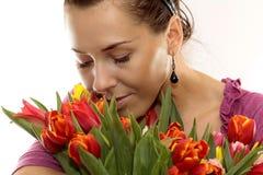 покрашенная женщина тюльпанов Стоковое Фото