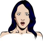 Покрашенная женщина удивленная вектором Стоковые Изображения RF