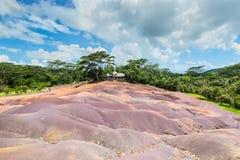 7 покрашенная земля в Маврикии, заповеднике Chamarel Стоковое Изображение