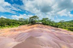 7 покрашенная земля в Маврикии, заповеднике Chamarel Стоковая Фотография