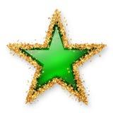 Покрашенная зеленым цветом звезда драгоценной камня с золотой границей звёздочки Стоковое Изображение