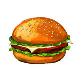 Покрашенная иллюстрация вектора грецких орехов гамбургера Стоковое Фото