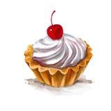 Покрашенная иллюстрация вектора пирожного вишни Стоковое фото RF