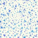 Покрашенная иллюстрация при декоративные птицы летая к центру Стоковое фото RF