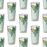 Покрашенная иллюстрация с пить Стекло mohito картина безшовная Стоковые Изображения RF