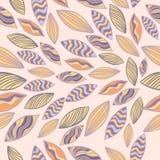 Покрашенная картина вектора безшовная с листьями Стоковое Изображение