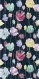 Покрашенная картина цветков безшовная на темной предпосылке Стоковое Фото
