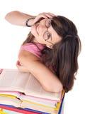 покрашенная книгой куча девушки Стоковое Изображение RF