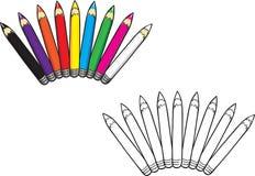Покрашенная книжка-раскраска собрания карандашей иллюстрация вектора