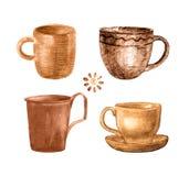 Покрашенная кофейная чашка установила Стоковая Фотография RF