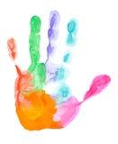 покрашенная печать руки стоковые изображения rf