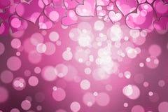 Покрашенная пинком абстрактная предпосылка сердец влюбленности Стоковая Фотография