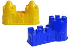 Покрашенная пластмасса формирует для игры детей с песком, изолированный дальше Стоковое Изображение