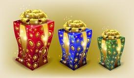 Покрашенная подарочная коробка с смычком Стоковые Фото