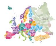 Покрашенная политическая карта Европы с зонами ` стран также вектор иллюстрации притяжки corel иллюстрация вектора