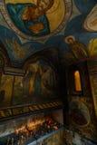 Покрашенная православная церков церковь в Бухаресте, Румынии Первоначально построенный с готическими влияниями, оно сильно было д стоковое фото rf