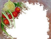 Покрашенная рамка овощей изолированная на белизне Стоковая Фотография RF