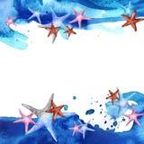 Покрашенная рисуя предпосылка акварели с морскими звёздами и голубой волной Стоковое фото RF