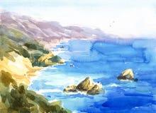 Покрашенная рука иллюстрации природы акварели Seascape побережья Калифорнии Стоковое фото RF