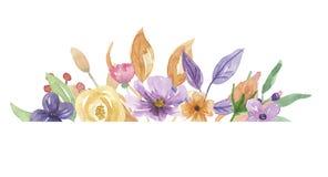 Покрашенная рука пинка цветка лета венка сирени края рамки акварели фиолетовая Стоковая Фотография