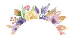 Покрашенная рука пинка цветка лета венка сирени свода рамки акварели фиолетовая иллюстрация штока