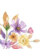 Покрашенная рука пинка цветка лета венка сирени угла рамки акварели фиолетовая Стоковая Фотография RF