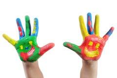 покрашенная рука ребенка Стоковое Изображение RF