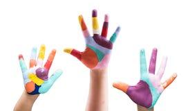 покрашенная рука ребенка Стоковое Фото