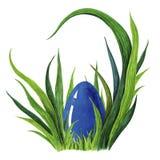 Покрашенная рукой иллюстрация акварели красочного голубого пасхального яйца кладя в свежее tuffet зеленой травы closeup бесплатная иллюстрация