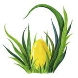 Покрашенная рукой иллюстрация акварели красочного желтого пасхального яйца кладя в свежее tuffet зеленой травы closeup иллюстрация штока