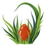 Покрашенная рукой иллюстрация акварели красочного красного пасхального яйца кладя в свежее tuffet зеленой травы closeup бесплатная иллюстрация