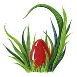 Покрашенная рукой иллюстрация акварели красочного красного пасхального яйца кладя в свежее tuffet зеленой травы closeup иллюстрация вектора