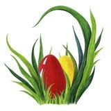 Покрашенная рукой иллюстрация акварели красочных красных и желтых пасхальных яя кладя в свежее tuffet зеленой травы closeup иллюстрация вектора