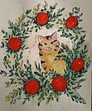 Покрашенная рукой иллюстрация кота Иллюстрация штока